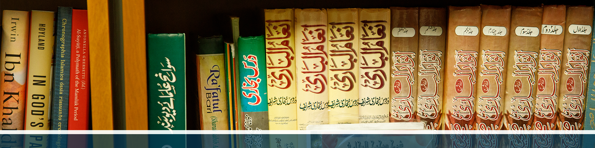 A shelf full of history books in English and Arabic.